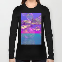 Tropical Morning – Abstract Magenta and Turquoise Paradise Long Sleeve T-shirt