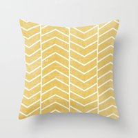 chevron Throw Pillows featuring Yellow Chevron by Zeke Tucker