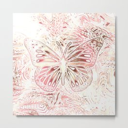 Monarch Butterfly In Pastel Pink Metal Print