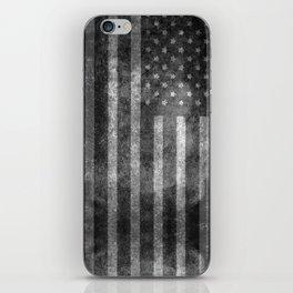 US flag, Old Glory in black & white iPhone Skin