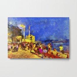 Istanbul At Night Van Gogh Metal Print