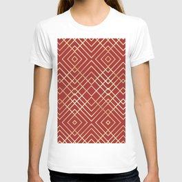 Modern Chinese Red Art Deco Geometric Pattern T-shirt