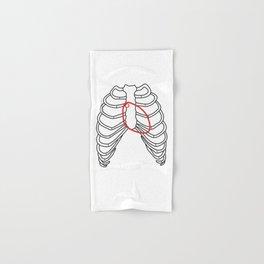 Red heart and ribs Hand & Bath Towel