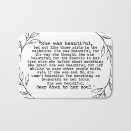 """She was beautiful"" quote from F. Scott Fitzgerald Bath Mat"
