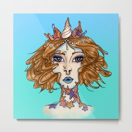 Starfish Mermaid Metal Print