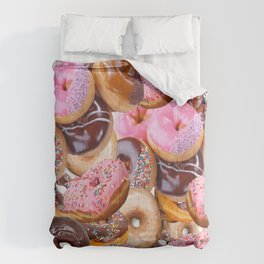 MODERN ART PINK & CHOCOLATE DONUT PASTRY MONTAGE Comforters