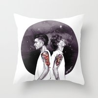 cyrilliart Throw Pillows featuring The Tiger and The Stag by Cyrilliart
