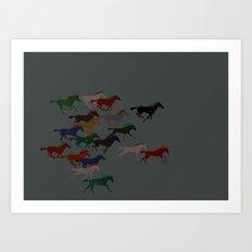 Horse Stampede Art Print