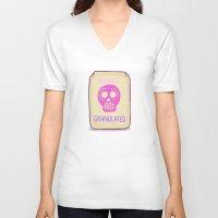 sugar skulls V-neck T-shirts featuring Sugar Skulls by Deesign