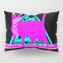 Pink Cat in Space Pillow Sham