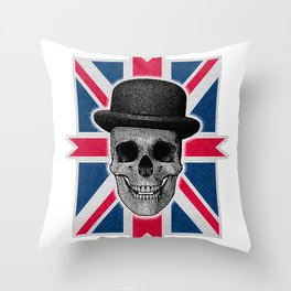 Skull with bowler hat and British flag Throw Pillow