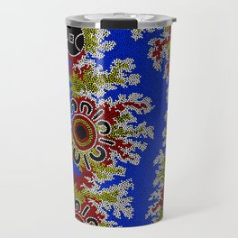 Authentic Aboriginal Art - Waterholes Corela Travel Mug