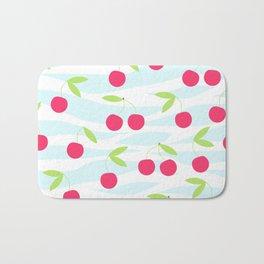 Seamless cherry pattern on striped Bath Mat