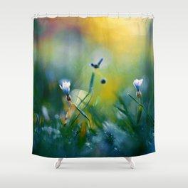On a Sunny Field Shower Curtain