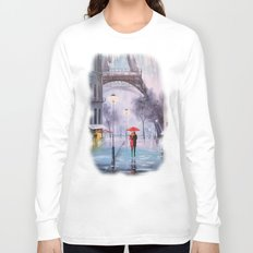 the first snow in Paris Long Sleeve T-shirt