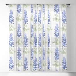 Texas bluebonnet in watercolor Sheer Curtain
