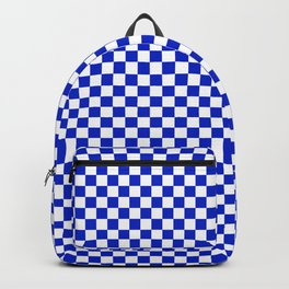 Small Cobalt Blue and White Checkerboard Pattern Backpack