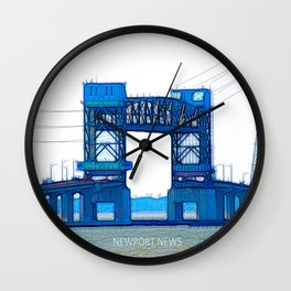 James River Bridge - White background Wall Clock