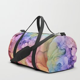 Colorful Abstract Ink Swirls with Gold Marble Duffle Bag