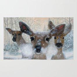 Deer in the Snowy Woods Rug