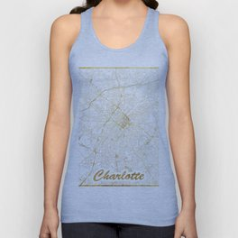 Charlotte Map Gold Unisex Tank Top