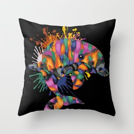 Dolphin Face Color Splashes Throw Pillow