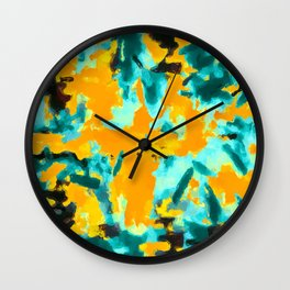 splash painting texture abstract background in green and orange Wall Clock