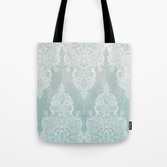 Lace & Shadows - soft sage grey & white Moroccan doodle by micklyn