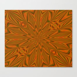 Autumnal Leaves Red Green and Amber Abstract Kaleidoscope Canvas Print