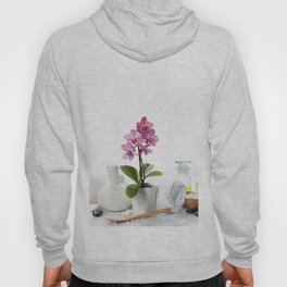 spa composition with beautiful pink orchid over white Hoody