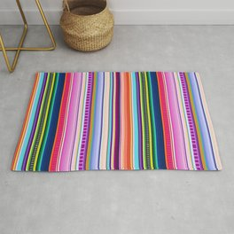 Mexican Serape Inspired Colorful Stripe Summer Fabric Rug