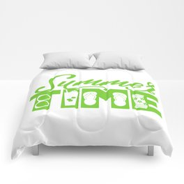 Summer TIME at the Pool Green Comforters