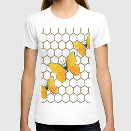 YELLOW BUTTERFLIES ON WHITE HONEY COMB PATTERN T-shirt