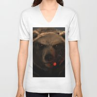 starcraft V-neck T-shirts featuring Smoking Bear by Rookzer0