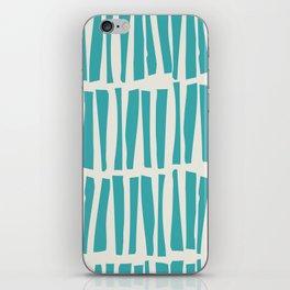 Aqua Teal Turquoise Solid Color Vertical Dash Stripe Line Pattern on Alabaster White - Aquarium SW 6767 iPhone Skin