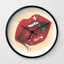 Strawberry Lips Wall Clock