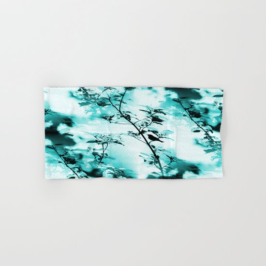 Silhouette of songbird on a branch in turquoise variation  Hand & Bath Towel