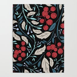 Holiday Holly and Mistletoe Pattern Poster