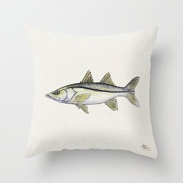 """""""Snook"""" by Amber Marine - Centropomus undecimalis ~ Watercolor Illustration, (Copyright 2013) Throw Pillow"""