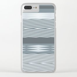 Gray blue striped abstract pattern . Clear iPhone Case