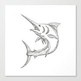 Atlantic Blue Marlin Doodle Canvas Print