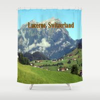 switzerland Shower Curtains featuring Green countryside of Lucerne Switzerland by Celeste Sheffey of Khoncepts