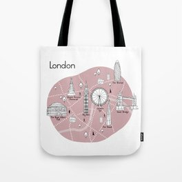 Mapping London - Pink Tote Bag