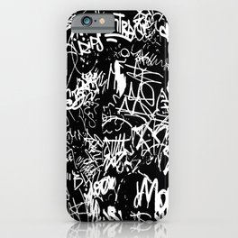Black and White Graffiti Abstract Collage Print Pattern iPhone Case
