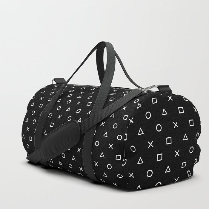 Gamer Pattern (White on Black) Duffle Bag
