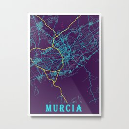 Murcia Neon City Map, Murcia Minimalist City Map Art Print Metal Print