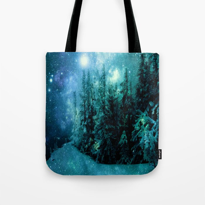 Galaxy Winter Forest Blue Teal Tote Bag