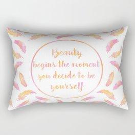 Beauty Begins Rectangular Pillow