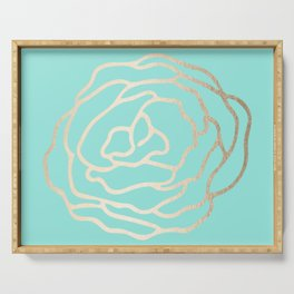 Flower in White Gold Sands on Tropical Sea Blue Serving Tray