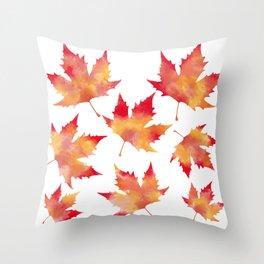 Maple leaves white Throw Pillow